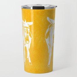 Seaside Donkeys in Yellow Travel Mug