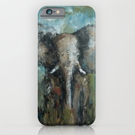 The Elephant   Oil Painting iPhone Case