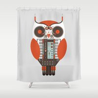dj Shower Curtains featuring DJ Owl by Tony Bamber