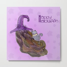 halloween little girl witch Metal Print