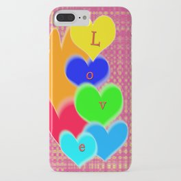 coloured love hearts iPhone Case