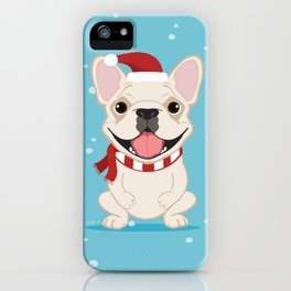 French Bulldog Waiting for Santa - Cream Edition iPhone Case