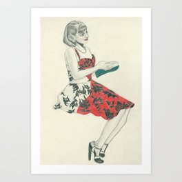 C in red dress Art Print