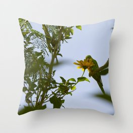 Birds from Pantanal Periquito-de-encontro-amarelo Throw Pillow