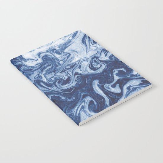 Yutaka - spilled ink marbled paper marbling swirl india ink minimal modern blue indigo pattern Notebook
