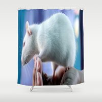 rat Shower Curtains featuring White Rat  by Four Hands Art