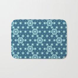 Japanese Asanoha or Star Pattern, Indigo Blue Bath Mat