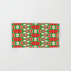 Red, Green and White Kaleidoscope 3372 Hand & Bath Towel