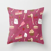 baking Throw Pillows featuring Shaking n' Baking by Valentina Cariel