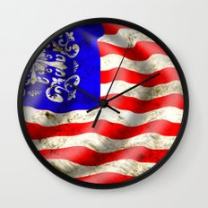 A wavy American flag Wall Clock