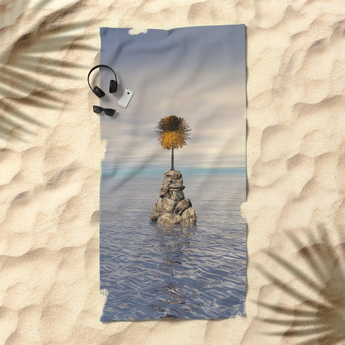 Orange Tree At Sea Beach Towel