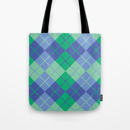 Blue-Green Argyle Tote Bag