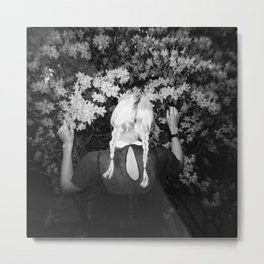 Truly Madly Deeply Holga double exposure of girl with flowers Metal Print