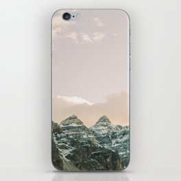 Rocky Mountain Sunsets with cotton candy skies over Moraine Lake iPhone Skin
