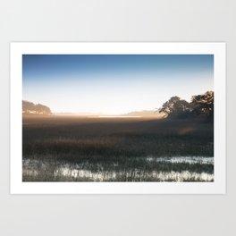 Marsh at Hazy Sunrise Art Print