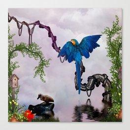 Wonderful blue parrot Canvas Print