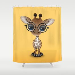 Cute Curious Baby Giraffe Wearing Glasses Shower Curtain