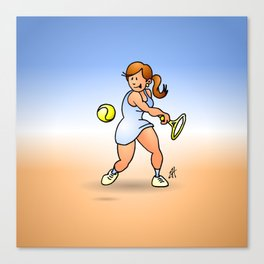 Tennis girl hitting a backhand Canvas Print