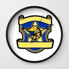 Seahorse Star Badge Retro Wall Clock