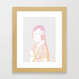 Surfing Geisha Framed Art Print