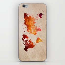 Red World Map iPhone Skin