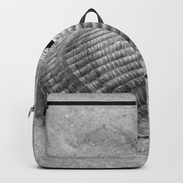broken shell, black and white Backpack