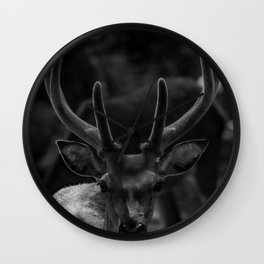 The Antlers (Black and White) Wall Clock