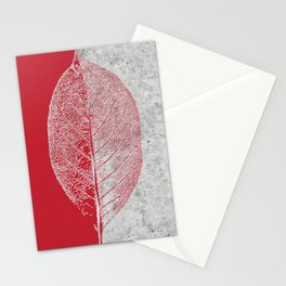 Natural Outlines - Leaf Red & Concrete #635 Stationery Cards