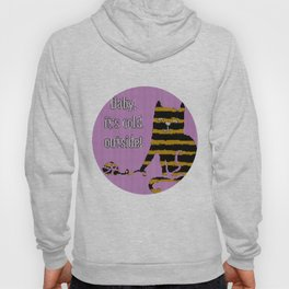 Baby its cold out there funny knitted striped Winter Cat Hoody