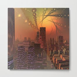 Spherople Alien City Metal Print