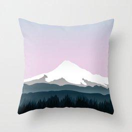 Mount Hood Forest - Pink Haze Throw Pillow