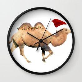 Christmas Camel With Santa Hat Wall Clock