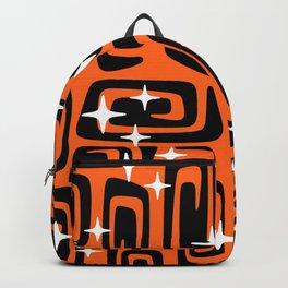 Mid Century Modern Cosmic Galaxies 435 Black and Orange Backpack