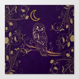 Golden Owl Crescent Moon Canvas Print