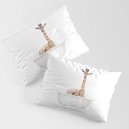 Skeptic Giraffe in a Vintage Bathtub (c) Pillow Sham