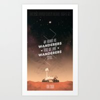 geology Art Prints featuring Wanderers - MSL/Curiosity Commemoration Print by vondell
