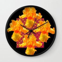 Golden Spring Iris Patterned Black  Decor Wall Clock