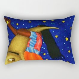 'Girl on the Moon with the Stars in her Hand' in the style of R. Morales (Artist Unknown) Rectangular Pillow