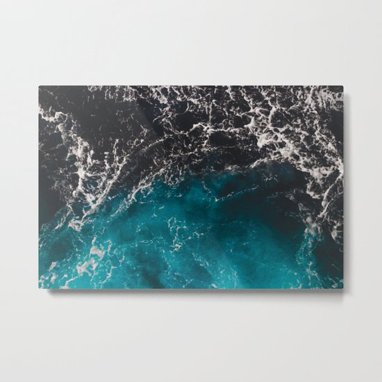 Wavy foamy blue black ombre sea water Metal Print
