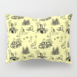 Eurasian Wolf Toile Pattern (Yellow and Black) Pillow Sham