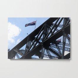 Sydney Harbour Bridge and Flag. Australia. Metal Print