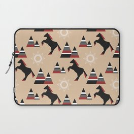American Indians style pattern with black horse jumping in the mountains Laptop Sleeve