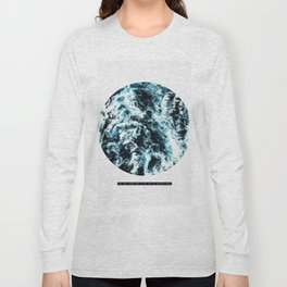 Free Like The Sea, digital collage, ocean waves, seascape, geometric nature, minimalist print, quote Long Sleeve T-shirt