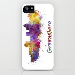 Greensboro skyline in watercolor iPhone Case