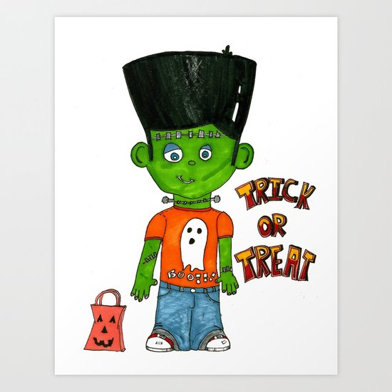 """Frankie Goes Trick or Treating"" Art Print"