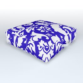 Paisley Damask Blue and White Outdoor Floor Cushion
