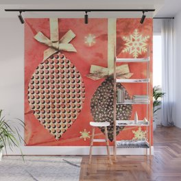 Coral Colored Hanging Christmas Ornaments Wall Mural