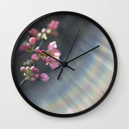 Rainbow with pink blossom Wall Clock