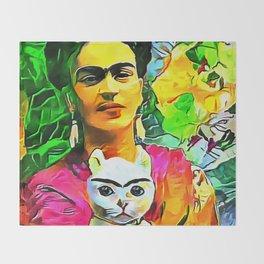 Frida's Cat Throw Blanket