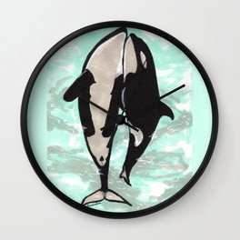Orcas in love Wall Clock